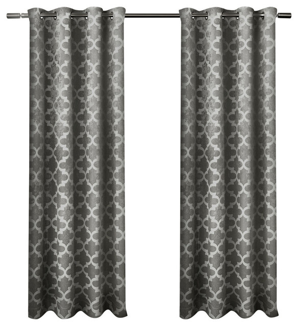 """Cartago Insulated Blackout Grommet Curtain Panels, Set Of 2, 54"""" X 96"""",  Black Pe Throughout Easton Thermal Woven Blackout Grommet Top Curtain Panel Pairs (#12 of 44)"""