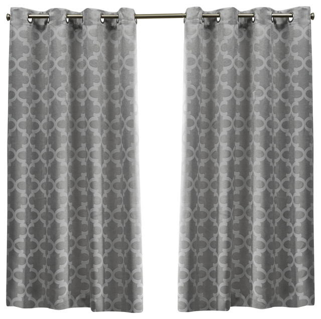 Cartago Insulated Blackout Top Window Curtain Panel Pair, 54X63, Dove Gray For Insulated Blackout Grommet Window Curtain Panel Pairs (#8 of 37)