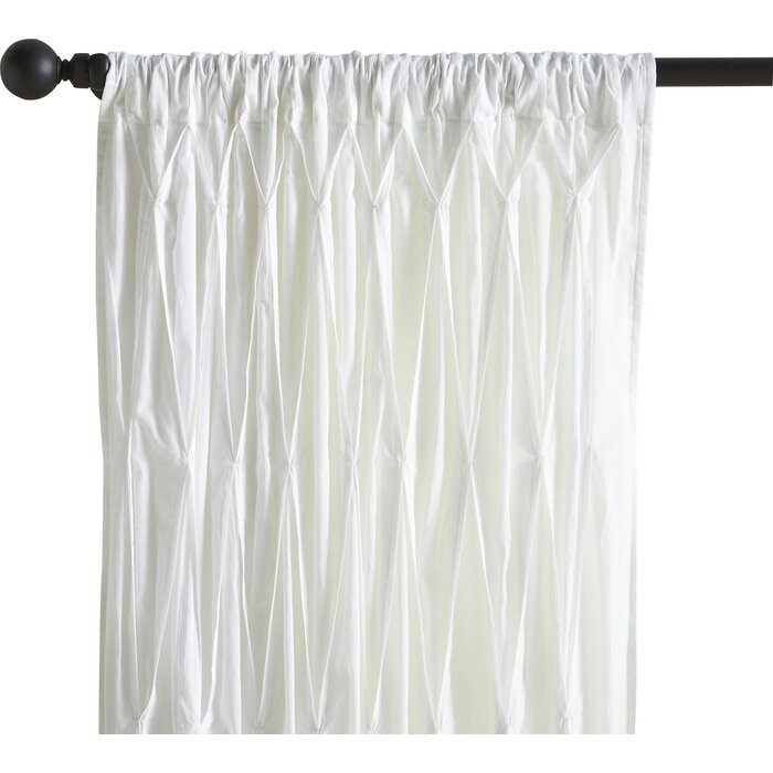 Casimiro Cotton Voile Solid Sheer Pinch Pleat Single Curtain Panel Pertaining To Solid Cotton Pleated Curtains (#11 of 50)