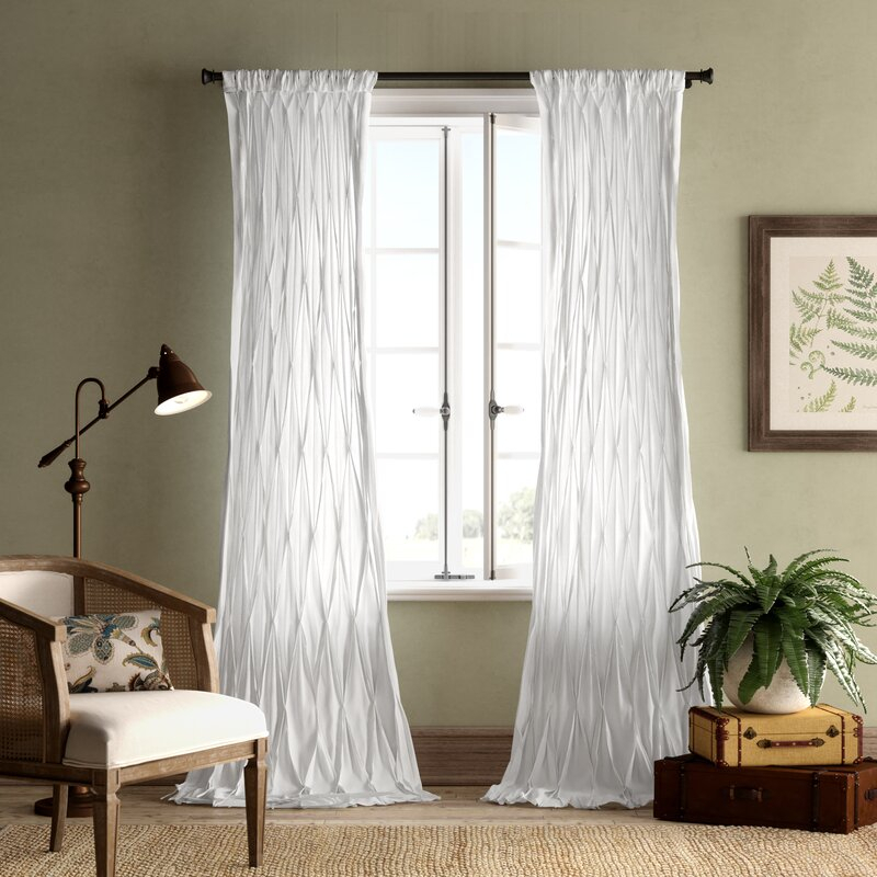 Casimiro Cotton Voile Solid Sheer Pinch Pleat Single Curtain Panel Pertaining To Solid Cotton True Blackout Curtain Panels (#18 of 50)