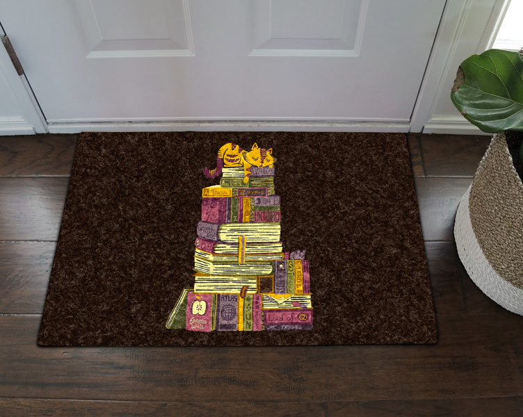 Cat And Book Cld020816 Nn Doormat – Kaylee And Tepid Within Nantahala Rod Pocket Room Darkening Patio Door Single Curtain Panels (#1 of 50)