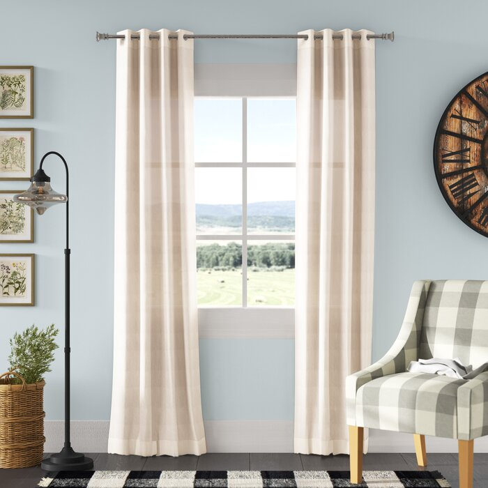Chandler Solid Faux Linen Sheer Grommet Single Curtain Panel For Luxury Collection Faux Leather Blackout Single Curtain Panels (View 25 of 42)