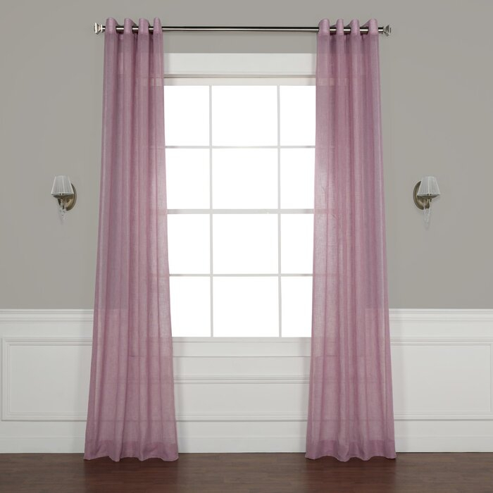 Chandler Solid Faux Linen Sheer Grommet Single Curtain Panel In Luxury Collection Faux Leather Blackout Single Curtain Panels (#9 of 42)