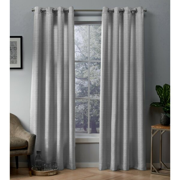 Charcoal Gray Curtains | Wayfair Throughout Geometric Print Textured Thermal Insulated Grommet Curtain Panels (View 5 of 45)