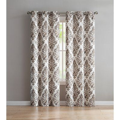 Charlton Home Blumenthal Geometric Semi Sheer Grommet Inside Overseas Leaf Swirl Embroidered Curtain Panel Pairs (View 14 of 50)