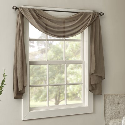 Charlton Home Bruggeman Solid Sheer Rod Pocket Window Scarf Regarding Kaylee Solid Crushed Sheer Window Curtain Pairs (#7 of 40)