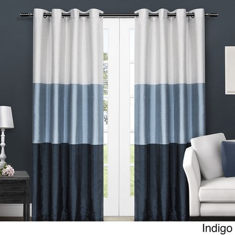 Chateau Striped Faux Silk Grommet Top 84 Inch Curtain Panel Inside Chester Polyoni Pintuck Curtain Panels (View 3 of 26)