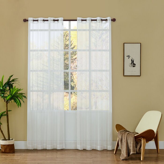 Checotah Striped Sheer Grommet Curtain Panels With Regard To Ocean Striped Window Curtain Panel Pairs With Grommet Top (#9 of 41)