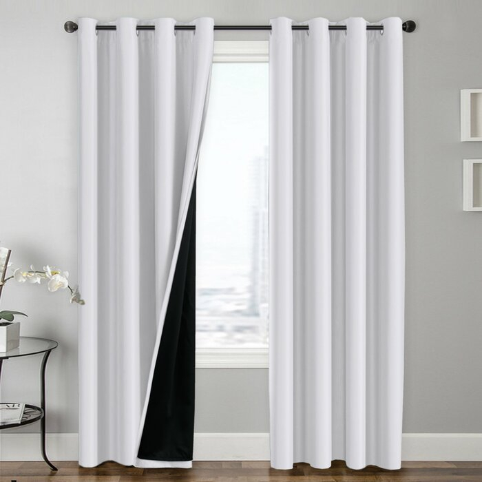 Chet Insulated Lined Solid Blackout Thermal Grommet Curtain Panels For Lined Grommet Curtain Panels (#10 of 31)