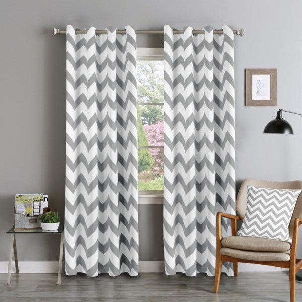 Chevron Blackout Curtains , Grommet Top,two Panels, 132 Cm×213 Cm  Mild Gray With Chevron Blackout Grommet Curtain Panels (View 8 of 50)