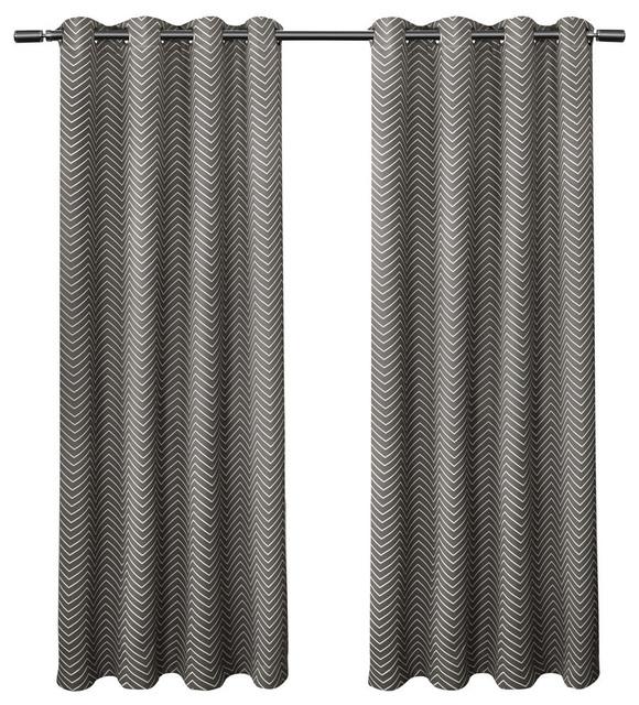 "Chevron Blackout Thermal Grommet Curtain Panels, Black Pearl, 52""x84"", Set  Of 2 Within Chevron Blackout Grommet Curtain Panels (View 14 of 50)"