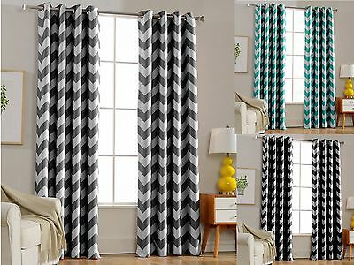 Chevron Print Insulated 100% Thermal Blackout Window Grommet With Chevron Blackout Grommet Curtain Panels (View 18 of 50)