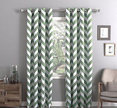 Chevron Sage Thermal 100% Sun Blackout Grommet Curtain Panel For Chevron Blackout Grommet Curtain Panels (View 19 of 50)