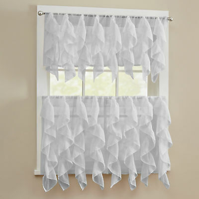 Chic Sheer Voile Vertical Ruffled Tier Window Curtain Single For Sheer Voile Waterfall Ruffled Tier Single Curtain Panels (#7 of 50)