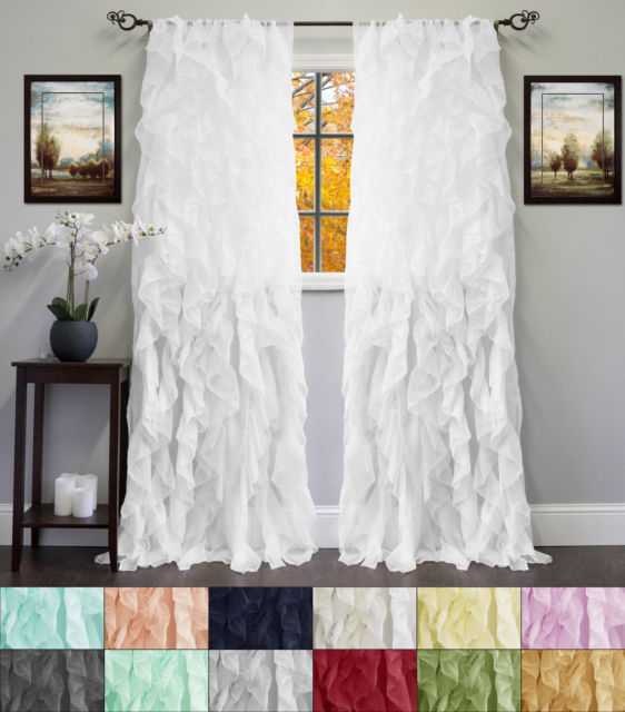 """Chic Sheer Voile Vertical Ruffled Tier Window Curtain Single Panel 50"""" X 84"""" Intended For Emily Sheer Voile Solid Single Patio Door Curtain Panels (View 2 of 50)"""