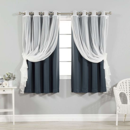 China Navy Home Fashion Mix And Match Tulle Sheer Lace And Pertaining To Mix & Match Blackout Tulle Lace Bronze Grommet Curtain Panel Sets (View 38 of 50)