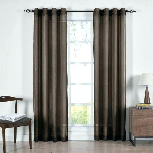 Chocolate Sheer Curtains Wavy Leaves Embroidered Grommet With Wavy Leaves Embroidered Sheer Extra Wide Grommet Curtain Panels (#10 of 50)