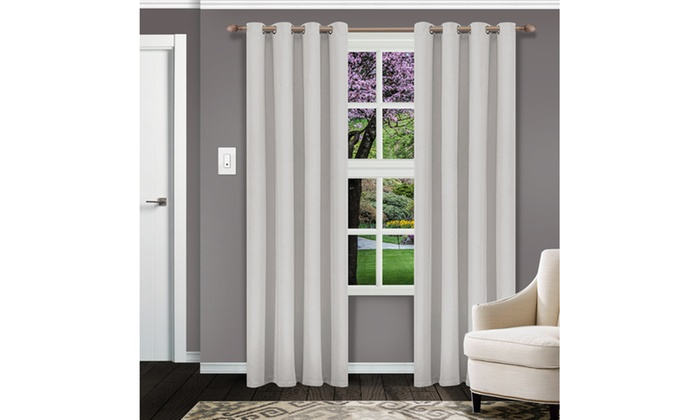 Chrome Solid Insulated Thermal Blackout Grommet Curtain Regarding Solid Insulated Thermal Blackout Curtain Panel Pairs (View 2 of 50)