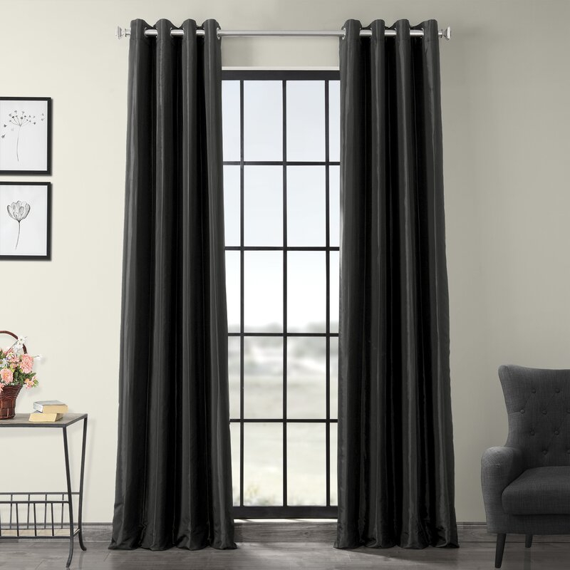 Clapham Solid Blackout Faux Silk Taffeta Thermal Rod Pocket Single Curtain  Panel With Faux Silk Taffeta Solid Blackout Single Curtain Panels (View 4 of 50)