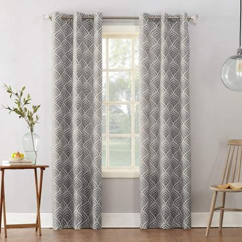 Clarke Geometric Print Textured Thermal Insulated Grommet Curtain Panel Within Duran Thermal Insulated Blackout Grommet Curtain Panels (View 11 of 29)