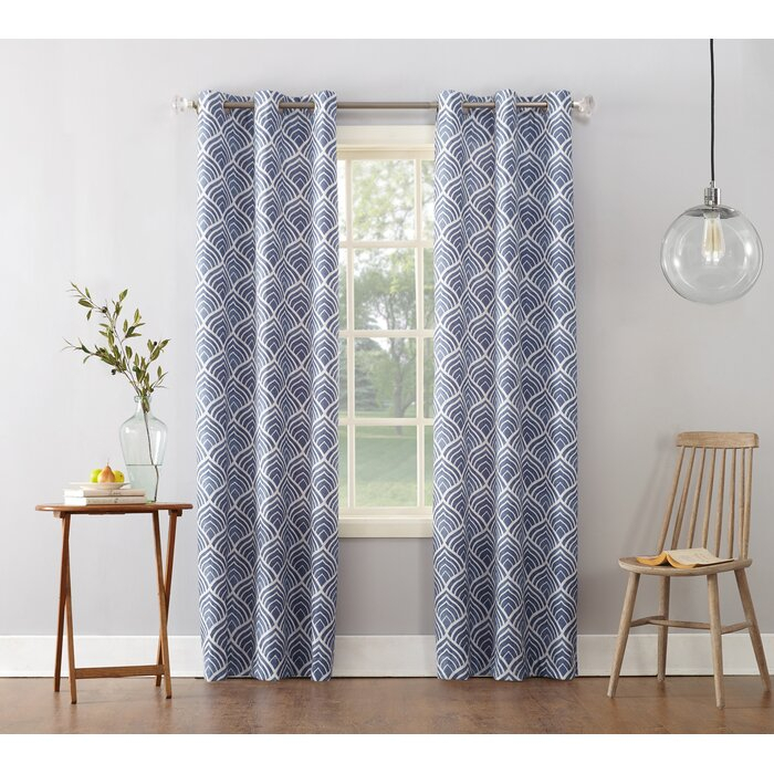 Popular Photo of Geometric Print Textured Thermal Insulated Grommet Curtain Panels