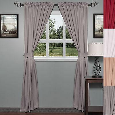 "Classic Hotel Quality 36""w X 54""l Fabric Bathroom Window Pertaining To Classic Hotel Quality Water Resistant Fabric Curtains Set With Tiebacks (#8 of 50)"
