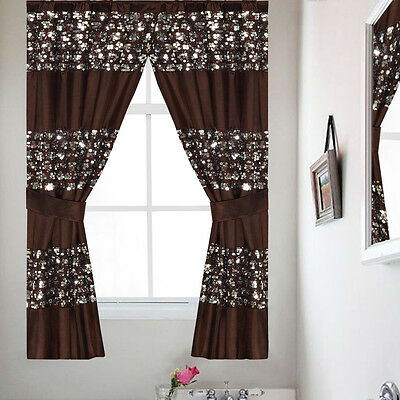 "Classic Hotel Quality 36""w X 54""l Fabric Bathroom Window Within Classic Hotel Quality Water Resistant Fabric Curtains Set With Tiebacks (#12 of 50)"