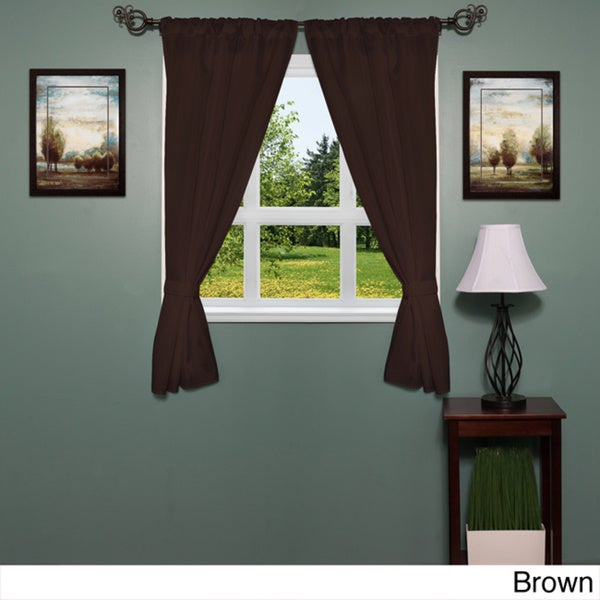 Popular Photo of Classic Hotel Quality Water Resistant Fabric Curtains Set With Tiebacks