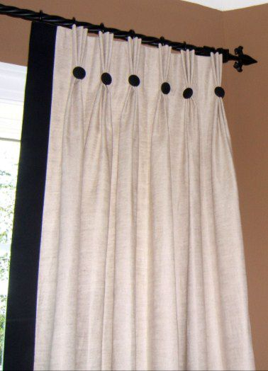 Classic Pinch Pleat Panels With Edge Band And Buttons Within Double Pinch Pleat Top Curtain Panel Pairs (#6 of 50)