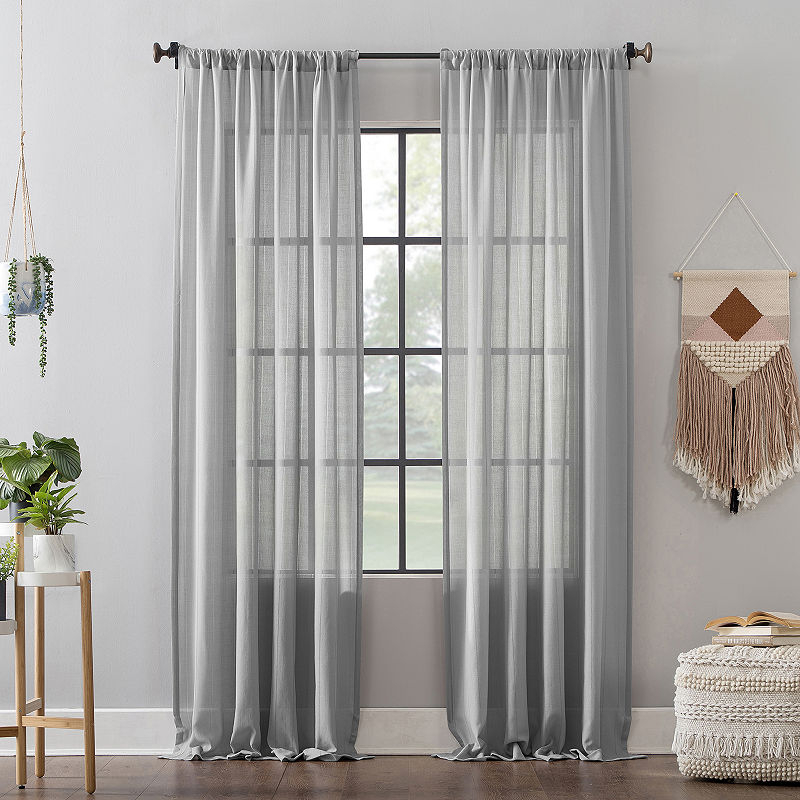 Clean Window Leno Weave Stripe Anti Dust Rod Pocket Curtain In Ladonna Rod Pocket Solid Semi Sheer Window Curtain Panels (View 7 of 47)