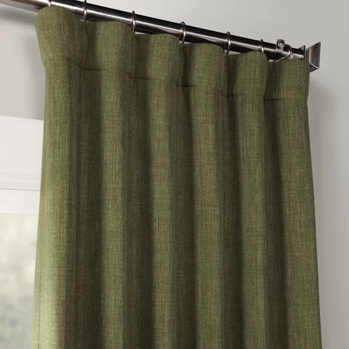 Clem Faux Linen Room Darkening Rod Pocket Single Curtain Intended For Luxury Collection Faux Leather Blackout Single Curtain Panels (View 40 of 42)
