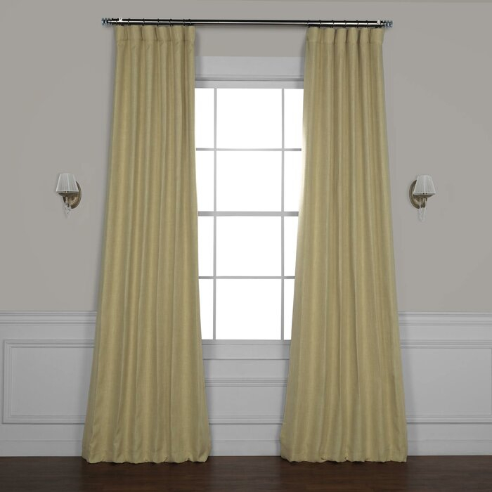 Clem Faux Linen Room Darkening Rod Pocket Single Curtain Panel In Luxury Collection Faux Leather Blackout Single Curtain Panels (View 3 of 42)