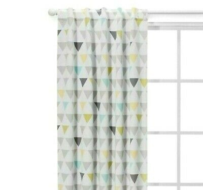 "Cloud Island Blackout Curtain Panel Triangles (42"" X 84"") – Gray/yellow/green 