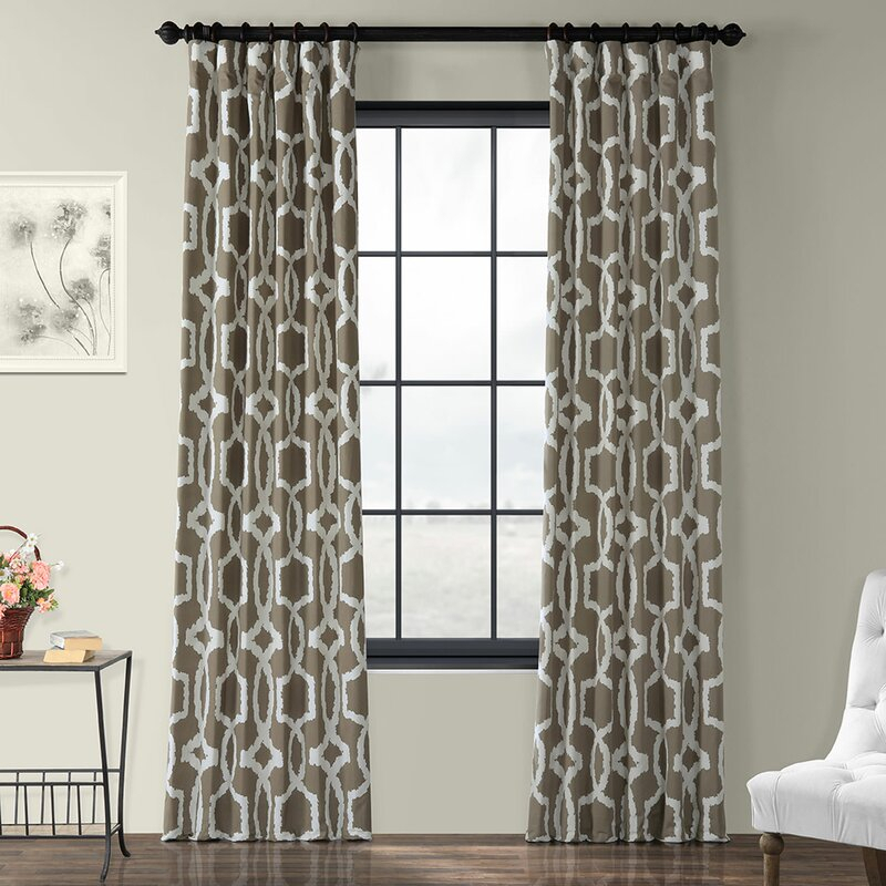 Coatsburg Geometric Printed Cotton Twill Thermal Rod Pocket Single Curtain  Panel Throughout Geometric Print Textured Thermal Insulated Grommet Curtain Panels (View 10 of 45)
