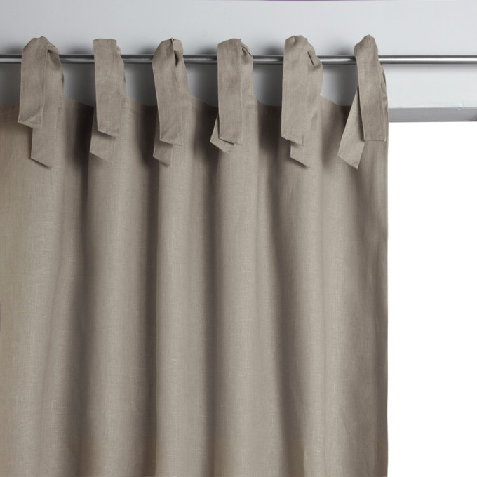 Colin Single Linen Lined Curtain With Tie Top Am (View 7 of 50)