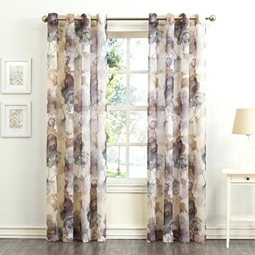Collection Floral Crushed Sheer Curtain Panel X Mulberry Intended For Erica Sheer Crushed Voile Single Curtain Panels (#4 of 41)