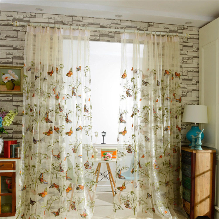 Colorful Butterfly Romantic Botanical Sheer Curtain Panels For Kid Room For Kida Embroidered Sheer Curtain Panels (#7 of 50)