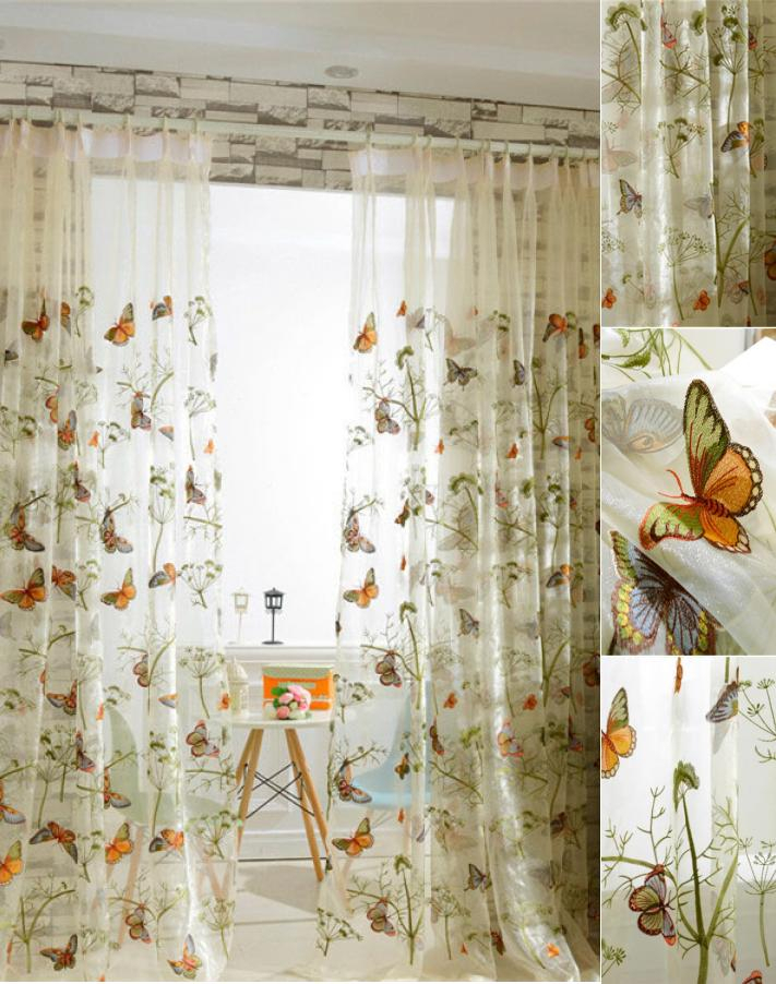 Colorful Butterfly Romantic Botanical Sheer Curtain Panels For Kid Room Within Kida Embroidered Sheer Curtain Panels (#8 of 50)