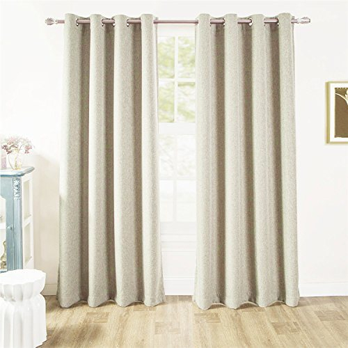 Comforhome Linen Look Blackout Window Curtain, Grommets Drapes For Living  Room Ivory 52 X 72(1 Panel) 1 Piece / Package Inside All Seasons Blackout Window Curtains (View 19 of 48)