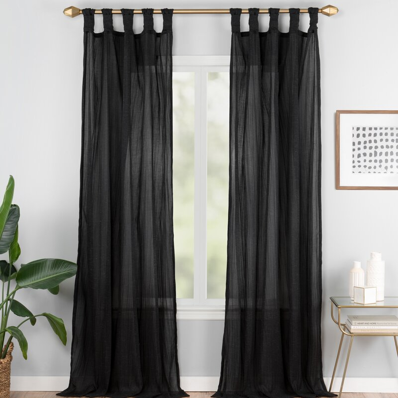 Connors Solid Semi Sheer Tab Top Single Curtain Panel Pertaining To Tab Top Sheer Single Curtain Panels (#8 of 50)