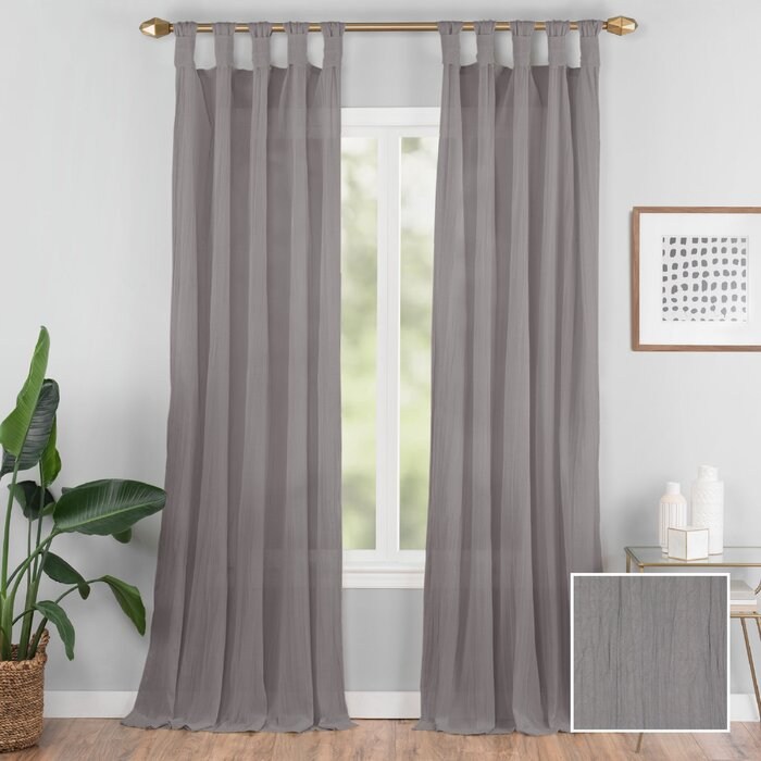 Connors Solid Semi Sheer Tab Top Single Curtain Panel Regarding Tab Top Sheer Single Curtain Panels (#9 of 50)