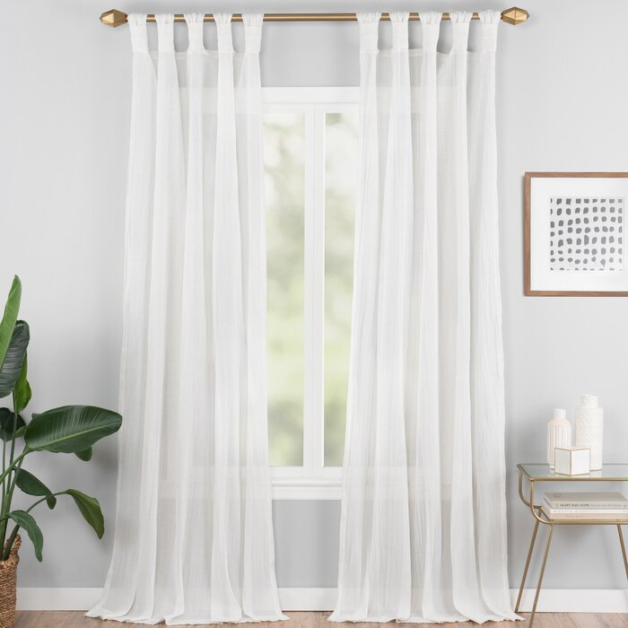 Connors Solid Semi Sheer Tab Top Single Curtain Panel Within Tab Top Sheer Single Curtain Panels (#10 of 50)