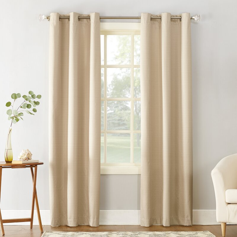 Cooper Textured Solid Room Darkening Thermal Insulated Grommet Single  Curtain Panel Within Dolores Room Darkening Floral Curtain Panel Pairs (View 3 of 35)