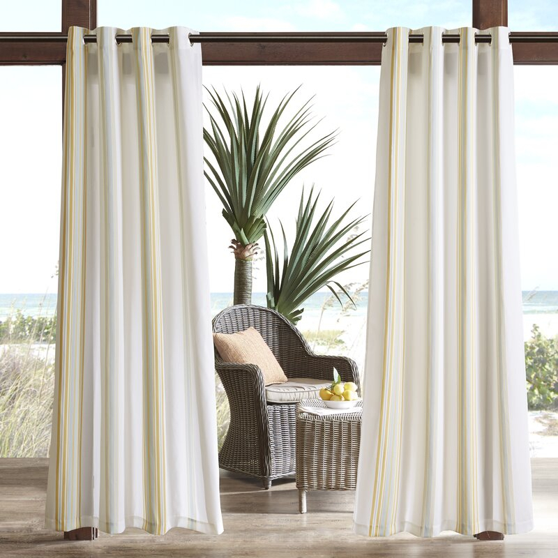 Corbin Striped Light Filtering Outdoor Single Curtain Panel In Light Filtering Sheer Single Curtain Panels (#8 of 38)