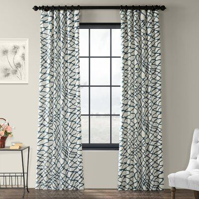Cotton Canvas Zigzag Reflection Curtains (Set Of 2) With Sarong Grey Printed Cotton Pole Pocket Single Curtain Panels (#13 of 50)