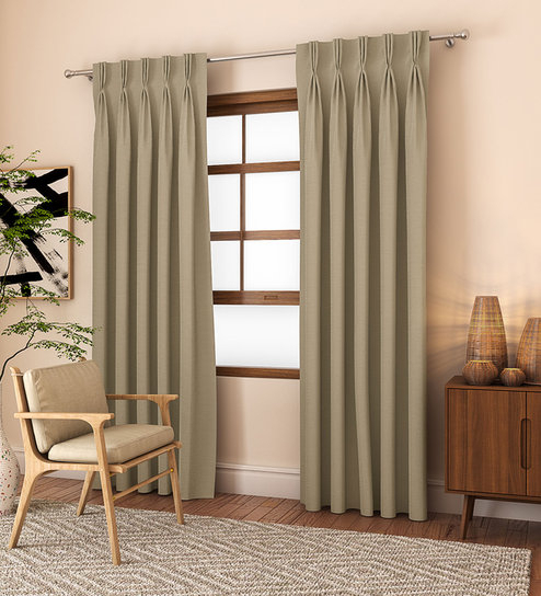 Cotton Classic Poly Cotton 9 Feet Door Curtain Set Of 2Curtain Label With Solid Cotton Pleated Curtains (#12 of 50)