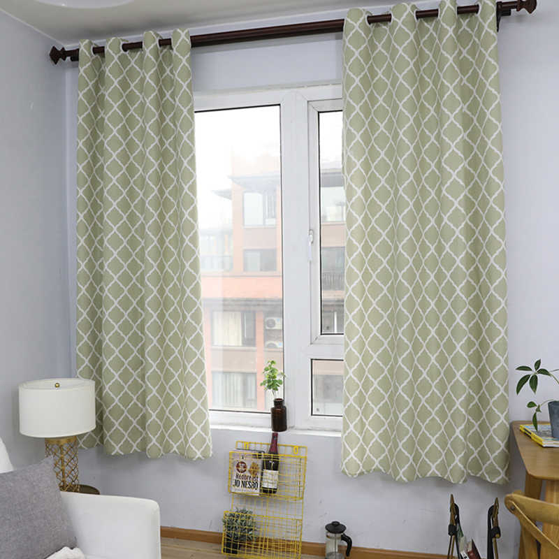 Cotton Linen Fabric Curtains Green Geometric For Living Room Short Curtains  For Bedroom Balcony Kitchen Windows Decor 140X215Cm For Solid Country Cotton Linen Weave Curtain Panels (#8 of 50)