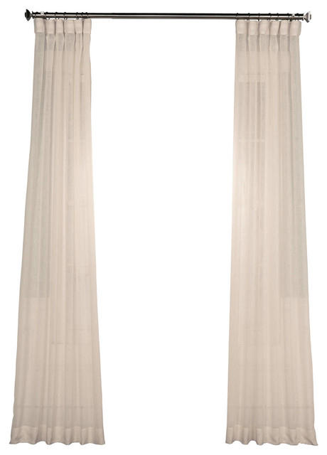"Cotton Seed Solid Fauxlinen Sheer Curtain, Single Panel, 50""x96"" In Solid Cotton Curtain Panels (View 34 of 47)"