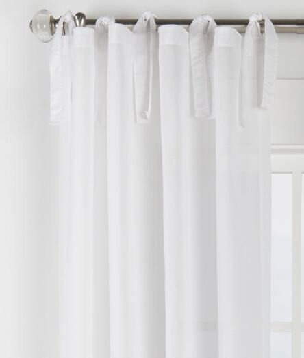 Cotton Voile Tie Tab Top Curtains – Pair – Final Sale – No In Elowen White Twist Tab Voile Sheer Curtain Panel Pairs (View 11 of 36)