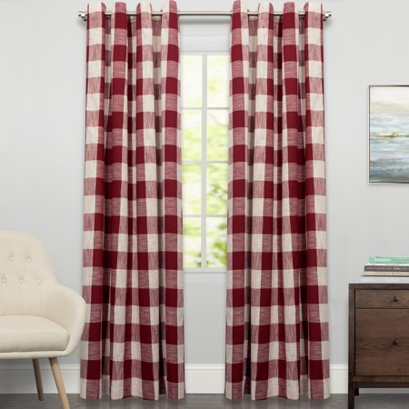 Courtyard Grommet Plaid Window Curtain Single Panel 84 Intended For Grainger Buffalo Check Blackout Window Curtains (View 10 of 50)